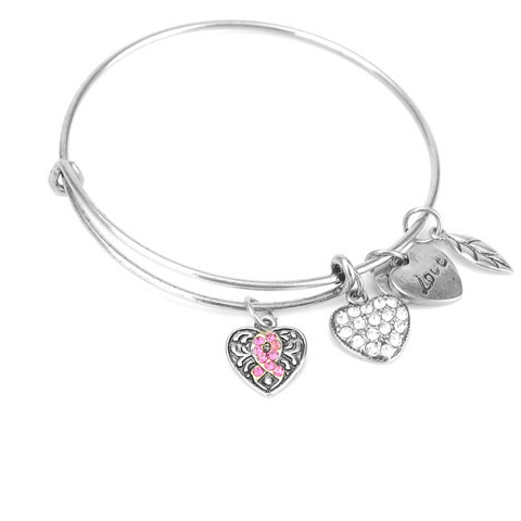 Pink Ribbon Charm Bangle - Florence Scovel - 1