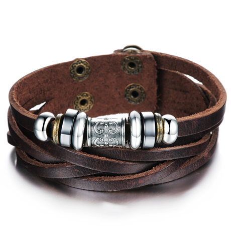 Genuine Leather Heavy Charm Men's Stainless Steel Bracelet - Florence Scovel - 1