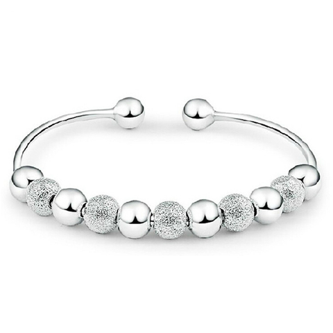 Silver Ball Cuff Bangle - Florence Scovel