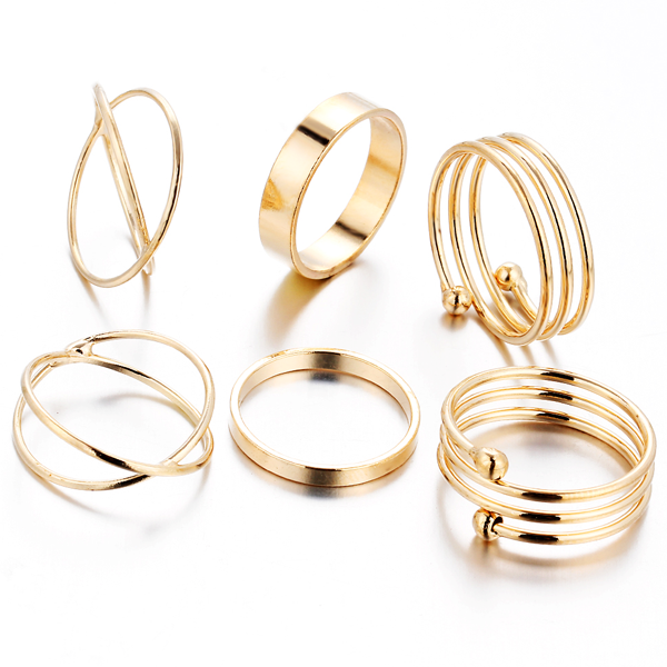 6pc Gold Stackable Ring Set - Florence Scovel - 1