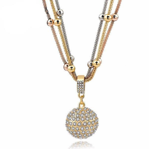 Gold Ball Rhinestone Necklace