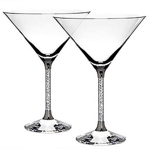Gorgeous Champagne Flute Set with Crystal-Filled Stems, Set of 2 With Box
