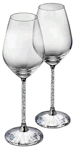 Dazzling Set of Martini Glasses with Crystal-Filled Stems, Set of 2 With Box