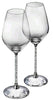 Beautiful Set of Wine Glasses with Crystal-Filled Stems, Set of 2 With Box