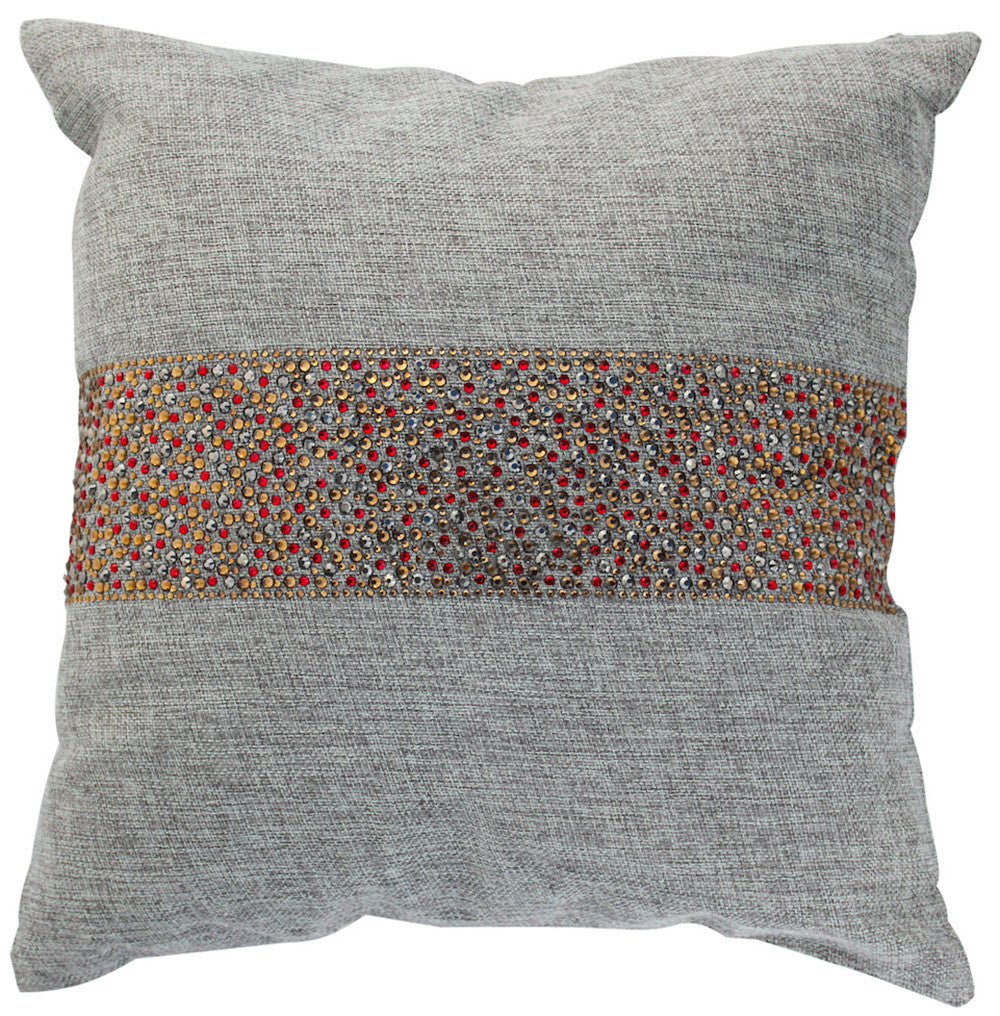 Throw Pillow with Glittering Multi-Colored Fall-Inspired Cinnamon Stripe