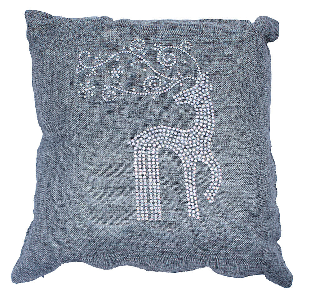 Dazzling Holiday Throw Pillow with Rhinestone Reindeer and Snowflakes