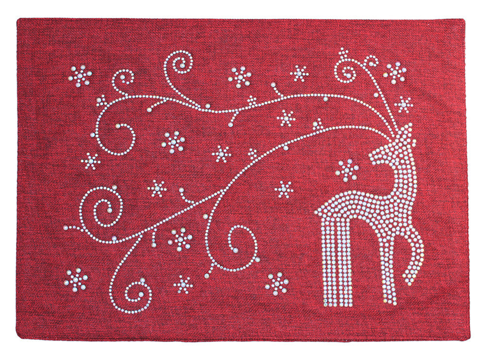 Dazzling Crimson Holiday Placemat with Rhinestone Reindeer and Snowflakes