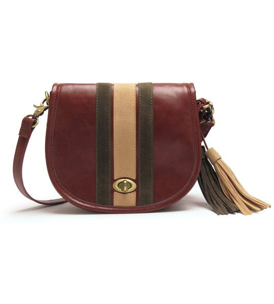 Brooke Striped Crossbody Saddle Bag
