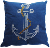 Dazzling Throw Pillow with Glittering Rhinestone Anchor Design