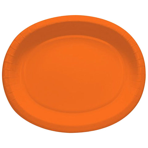 Sun Orange 10 x 12 inches Oval Platters - nyea's Party Store