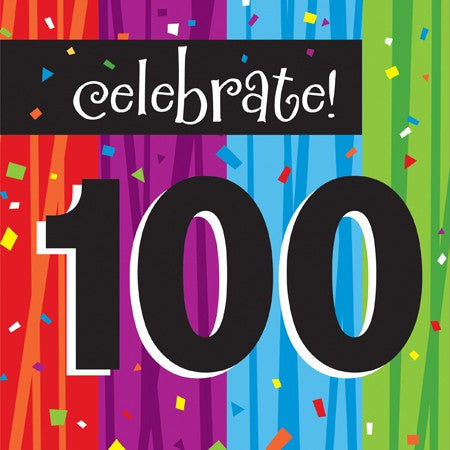"Milestone ""100"" Lunch Napkins - nyea's Party Store"