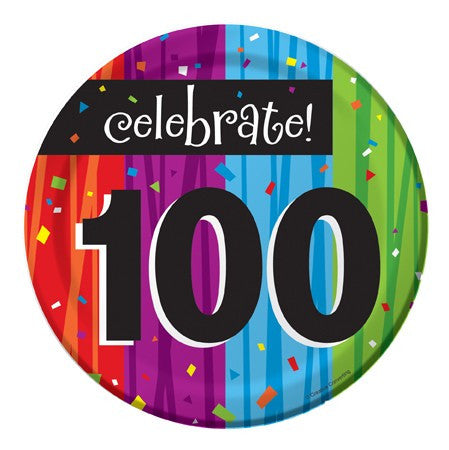 "Milestone ""100"" 7in Desert Plates - nyea's Party Store"