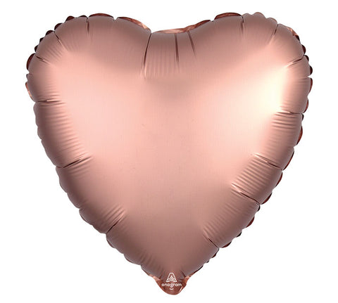 "17"" Rose Copper Satin Heart Foil Balloon"