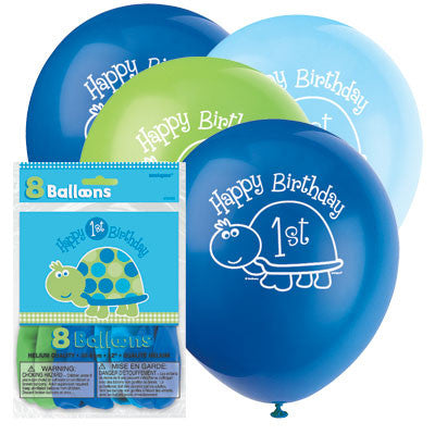 12 inches 1st Birthday Latex Balloons - Nyea's Party Store