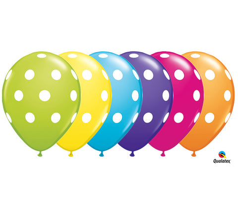 "11"" Tropical Assortment Big Polka Dots Latex Balloons - Nyea's Party Store"