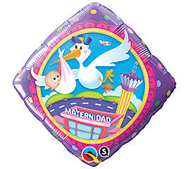 18 inches Spanish Maternidad Stork Foil Balloon - Nyea's Party Store