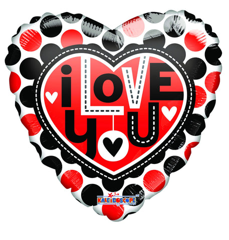 "18"" I Love You Dots Gellibean Foil Balloon"