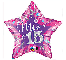 "Hot Pink ""Mis 15"" Star Shaped Foil Balloon - nyea's Party Store"
