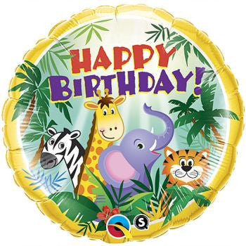 "18"" Happy Birthday Jungle Animals Foil Balloon"