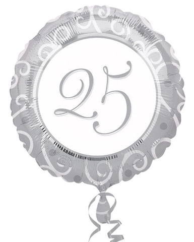 "18"" Round 25th Anniversary Foil Balloon"