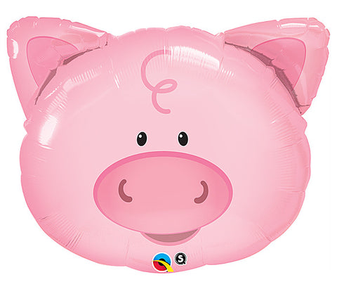 "30"" Playful Pig Face  Pkg Mylar Balloon - Nyea's Party Store"