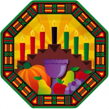 "Kwanzaa 7"" Octagon Plates - nyea's Party Store"
