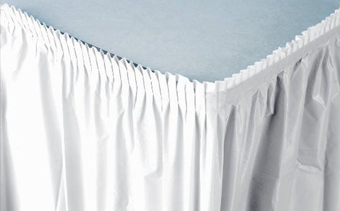 White 14 feet Plastic Table Skirt - nyea's Party Store
