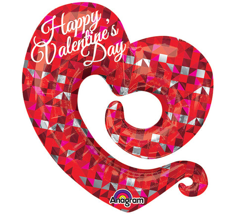 Happy Valentine's Day Swirly Open Heart Foil Balloon
