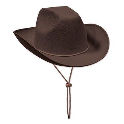 Brown Felt Cowboy Hat - nyea's Party Store