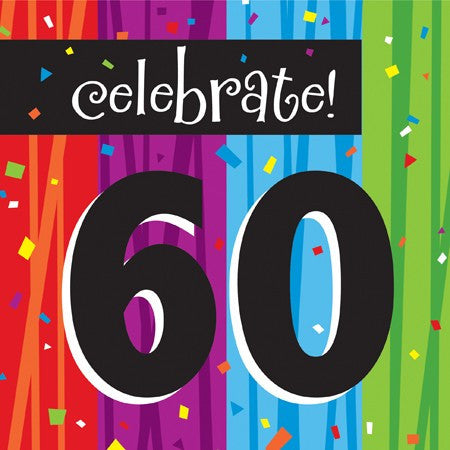 "Milestone ""60"" Lunch Napkins - nyea's Party Store"