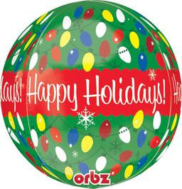 "16"" Happy Holiday Orbz Balloon - nyea's Party Store"