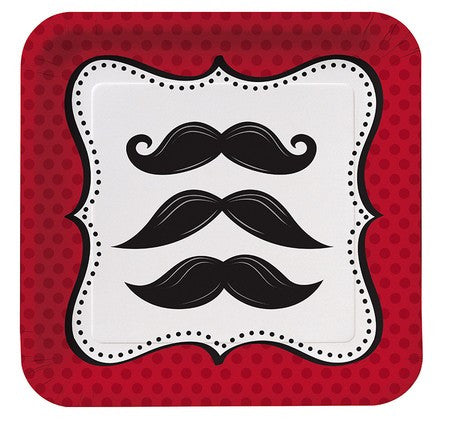 7 Inch Square Plates Mustache  little man - Nyea's Party Store