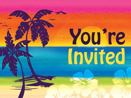 Aloha Summer Invitations - nyea's Party Store