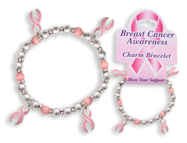 Breast Cancer Awareness Charm Bracelet - nyea's Party Store