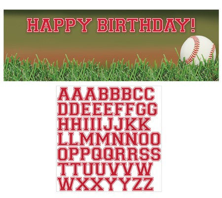 Baseball - Giant Customizable Party Banner with Stickers - nyea's Party Store