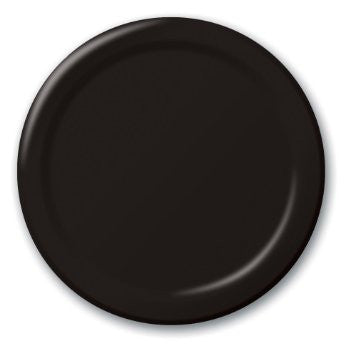 Black 7 inches Lunch/Dessert Paper Plates - nyea's Party Store