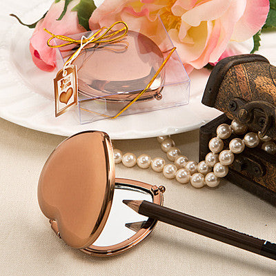 Bronze Metallic Heart Compact Mirror - nyea's Party Store