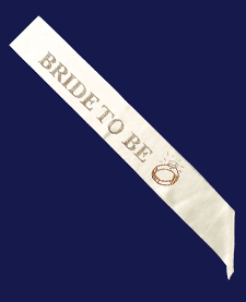 "White ""Bride To Be"" Sash - nyea's Party Store"