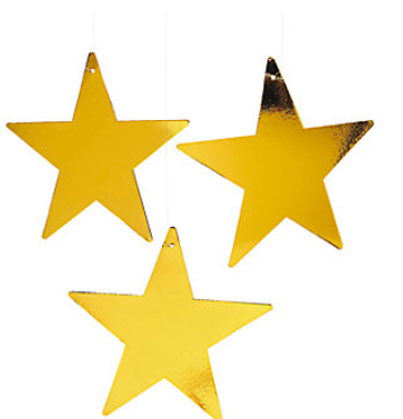 Cardboard Large Metallic Gold Stars - nyea's Party Store