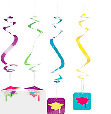 Graduation Paper Neon Grad Hanging Swirls - nyea's Party Store