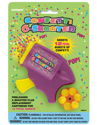 Confetti 6-Shooter with 1 Refill - nyea's Party Store