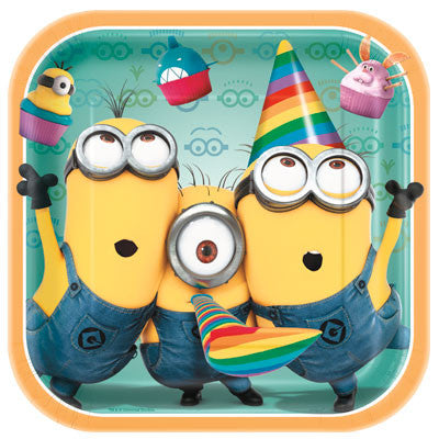 Despicable Me 2   9in Square Plates - nyea's Party Store