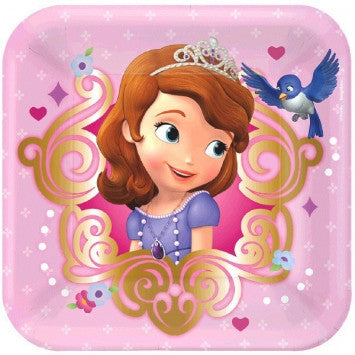 Disney Sofia The First Square Plates - nyea's Party Store