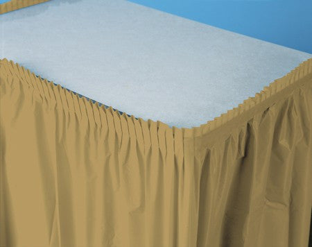 Glittering Gold 14 feet Plastic Table Skirt - nyea's Party Store