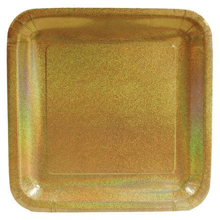 "Glitz Gold 10"" Square Prismatic Banquet Plates - Solid - nyea's Party Store"