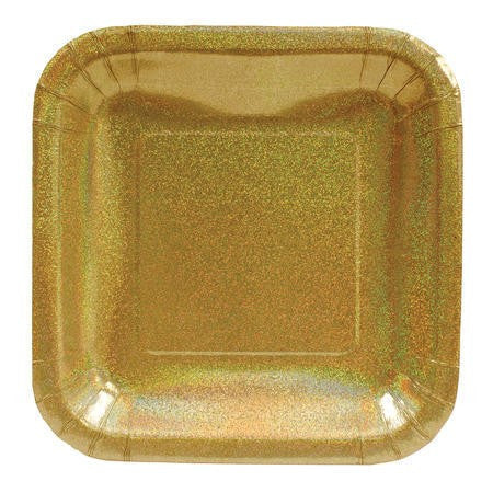 "Glitz Gold 7"" Square Prismatic Lunch Plates - Solid - nyea's Party Store"