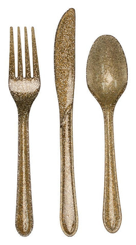Glitz Gold Assorted Plastic Cutlery with Glitter - nyea's Party Store