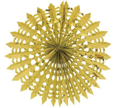 "Glitz Gold Hanging Décor, 16"" Fan - nyea's Party Store"