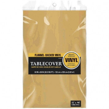 Gold Flannel Backed Vinyl Table Cover - nyea's Party Store