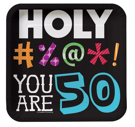 "Holy Bleep ""YOU ARE 50"" Lunch Plates - nyea's Party Store"
